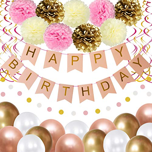 THAWAY Birthday Decorations Party Supplies, Pink and Gold Happy Birthday Decors, Happy Birthday Banner, Pom Poms Flowers, Glitter Garland, Hanging Swirl, Balloons for Girl's Birthday Party