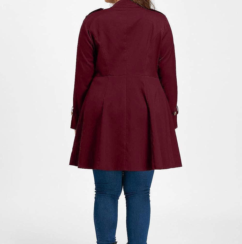 Trench Coats For Women, Kulywon Women Fashion Plus Size Vintage Longline Coat Double Breasted Flare Windbreaker at Amazon Womens Clothing store: