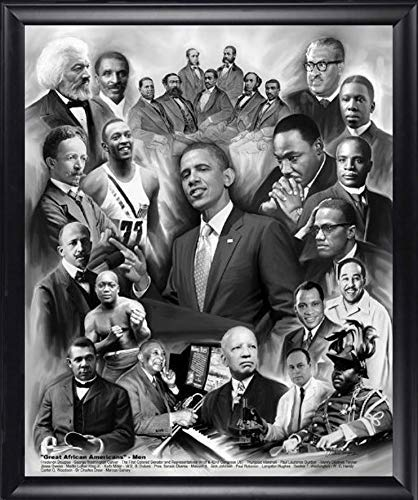 Framed Great African American Men by Wishum Gregory, Obama Malcolm X Marshall MLK Jr. Finished Size: 24x28
