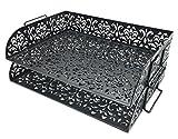 EasyPAG Carved Hollow Flower Pattern 2 Tier Desk Letter Tray,Black