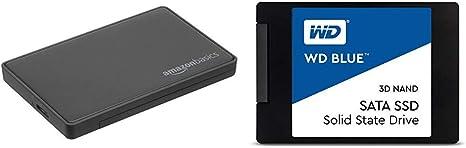 AmazonBasics Caja para Disco Duro SATA, 2,5 Pulgadas (6,35 cm) - USB 3.0 + Western Digital WDS100T2B0A WD Blue 1TB 3D NAND Internal SSD 2.5