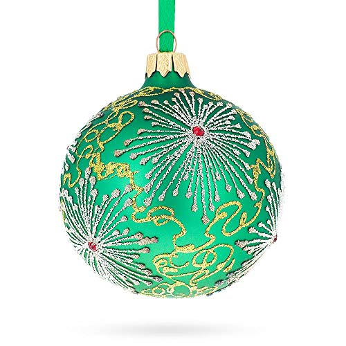 - BestPysanky Snowflakes on Green Glass Ball Christmas Ornament 3.25 Inches