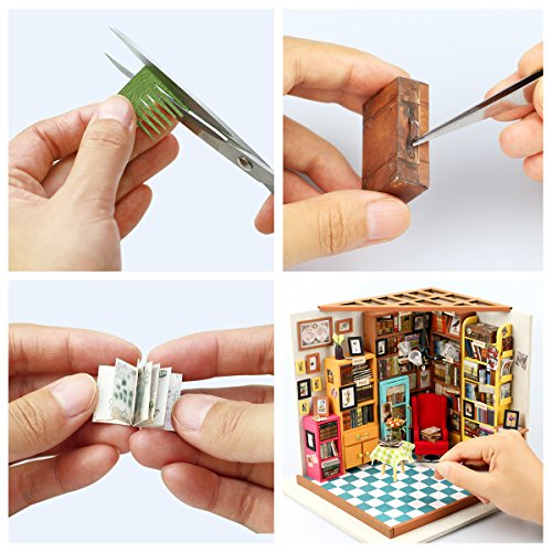 ROBOTIME Dollhouse Kit Miniature DIY Library House Kits Best Birthday Gifts for Adults and Kids