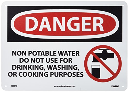 NMC D593AB OSHA Sign, Legend DANGER - NON-POTABLE WATER DO NOT USE FOR DRINKING, WASHING OR COOKING PURPOSES with Graphic, 14