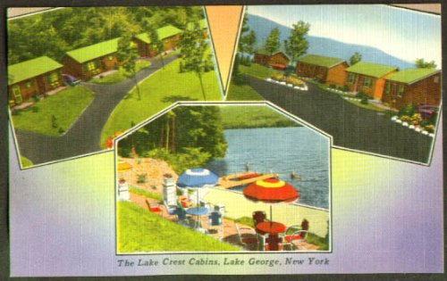 Lake Crest Cabins Lake George NY postcard 1950s