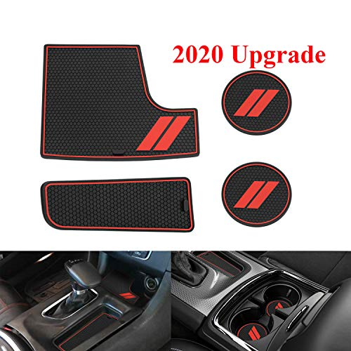 Fayedom Non-Slip Cup Holder Insert & Center Console Shifter Liner Trim Mats for 2015-2019 Dodge Charger (4 pcs)