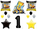 1st BIRTHDAY CONSTRUCTION Balloons Decoration Supplies Party Boy Dump Truck Bulldozer First