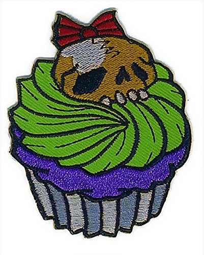 2.4 inches x 3.0 inches Cupcake Skull Topping Funny Dessert Time Halloween Cartoon Patch Sew Iron on Embroidered Applique Craft Handmade Baby Kid Girl Women Cloths DIY Costume (Cupcake Halloween Costume Diy)