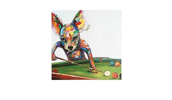 Dibujado a Mano Acrilica Pintura al óleo Moderno Decoración de Pared Hogar Cuadro Lienzo Perro Jugando Billar,NoFrame,50x50cm: Amazon.es: Hogar