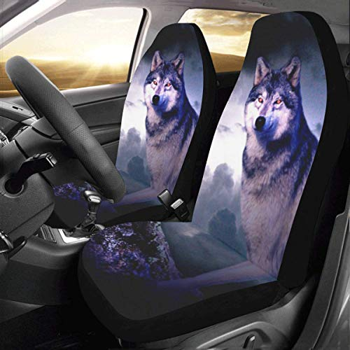 Artsadd Wolf Car Seat Covers Set Of 2 Best Automobile Seats Protector