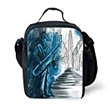 School Supplies Jazz Music Decor,Saxophone Man Playing Solo in the Street at Night Vibes Grunge Home Decor,Dark Blue Black White for Girls or boys Washable