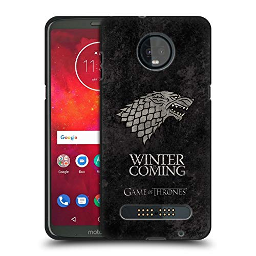 (Official HBO Game of Thrones Stark Dark Distressed Sigils Black Soft Gel Case for Motorola Moto Z3 / Z3)