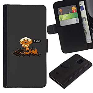 LECELL--Cuero de la tarjeta la carpeta del tirón Smartphone Slots Protección Holder For Samsung Galaxy S5 Mini, SM-G800 -- Yo Lol'D Resumen divertido --