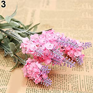 WskLinft 10 Heads 1 Bouquet Faux Silk Lavender Fake Garden Plant Flower Home Decor - Pink 40