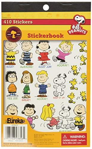 Eureka Back to School Peanuts Stickers for Kids and Teachers, 410 Stickers in 1 Sticker Book, 5.75'' x 9.38'' -