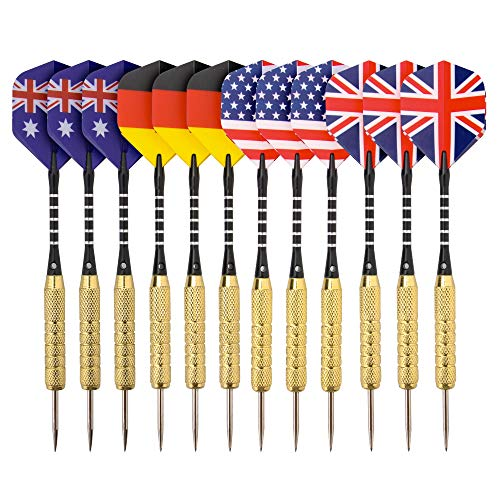 (REEHUT 12 Pack Steel Tip Darts with Aluminum Shafts, Brass Barrels,Stainless Steel Needle and Protective Cover for Professionals and)