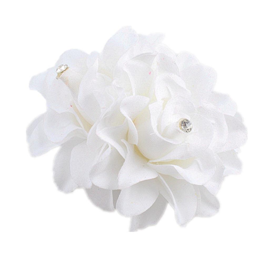 Ecurson Beautiful Flower Hair Pin Clip Pin Hairband Bridal Wedding Party For Women (White)