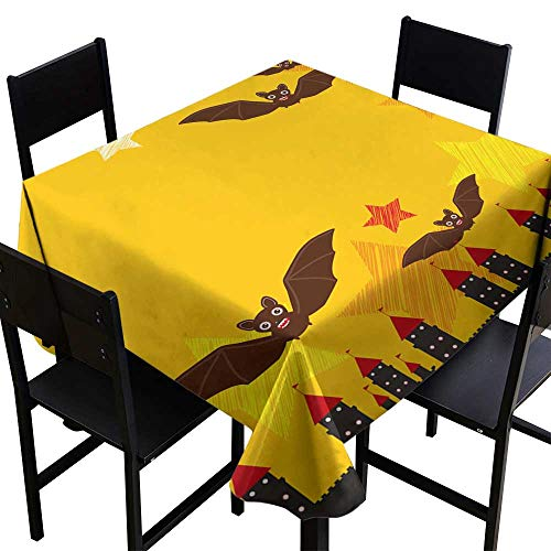 Personalized Tablecloths Halloween Card Banner Design for Text with Castle Pumpkin Stars Bats Night Sky Black Yellow Orange red Background Vector,W70 x L70 Spillproof Fabric Tablecloth