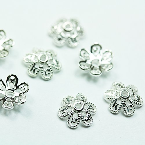 8pcs 925 Sterling silver Jewelry Findings Bead cap,8mm flower cap,1mm (8mm Sterling Silver Bead Cap)