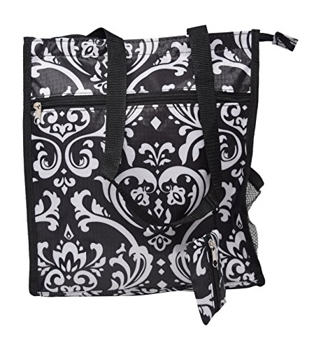 Medium Microfiber Organizer Tote Bags For Travel With Pockets and Zippers 12-inch Perfect For Luggage Or Computer Tablet or Laptop Carry On (Black / White (Star Quilted Tote Bag)