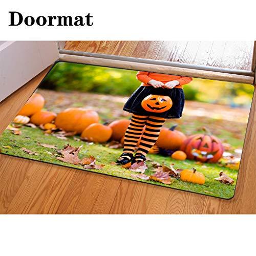 3D Printing and Dyeing,Bathroom Carpet, Door mat,Little Girl in Witch Costume on Halloween Trick or Treat Flannel Foam Shower mat, Absorbent Kitchen Door Carpet -