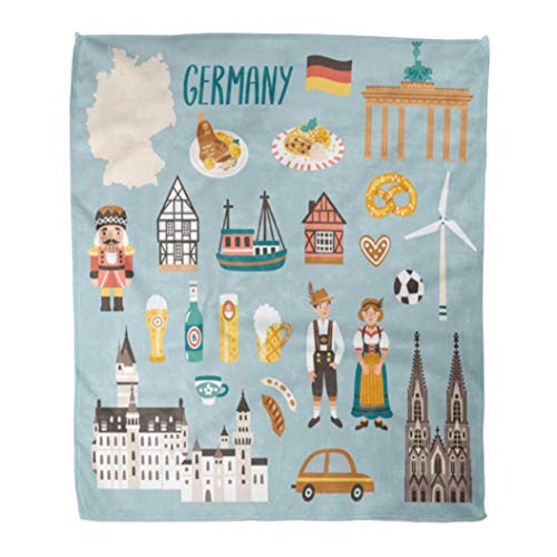 Semtomn Decorative Throw Blanket 60 x 80 Inches Germany Symbols Travel German Landmarks People Food Beer Warm Flannel Soft Blanket for Couch Sofa Bed