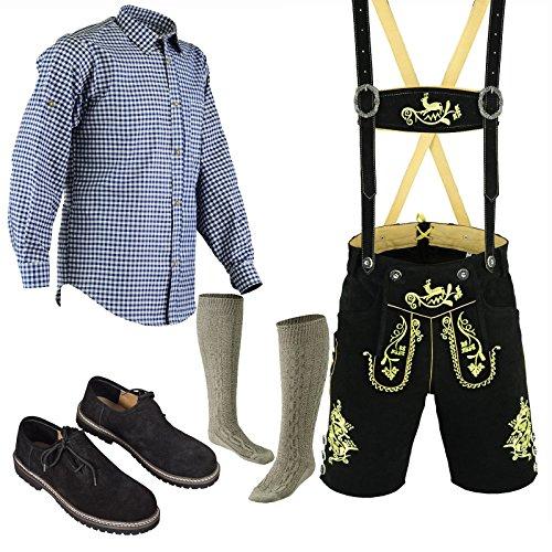 Bavarian Oktoberfest Trachten Lederhosen Above knee shorts shirt shoe and socks (36, Pure black) by Trends