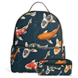 Japanese Koi Fish Unisex Canvas School College Student Backpack Laptop Bags Rucksack Casual Daypack with Pencil Case