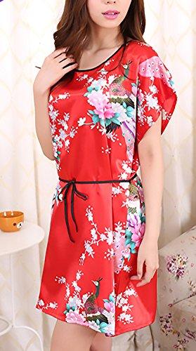 Eleganti Moda Camicie Stampato Manica Eleganti Corta Da Pigiama Collo Estivo Donna Corto Pavone Rotondo Notte Rossi Vestito Fiore w7Rxq