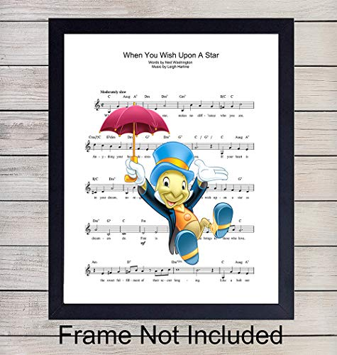 (Jiminy Cricket Sheet Music Wall Art Print - Perfect Gift For Children - For Boys and Girls Rooms, Disney World Fans - Great Home Decor - Ready to Frame (8X10) Photo - When You Wish Upon A Star)