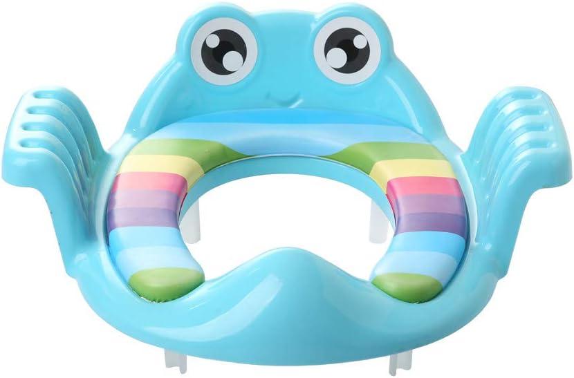 Ni/ño de dibujos animados rana inodoro c/írculo inodoro Asiento del entrenador Silla de entrenamiento Edad adecuada Asiento Baby Baby Training 6 meses Azul