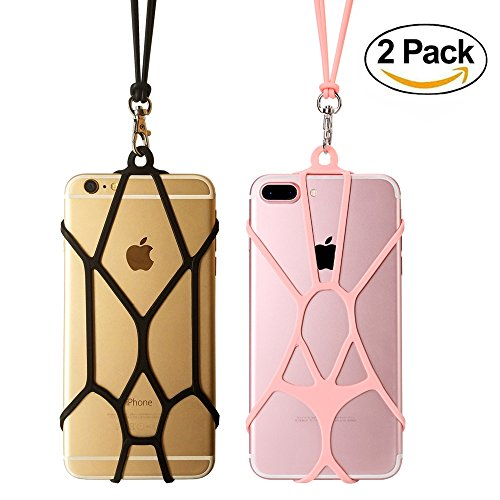 Cell Phone Holder Lanyard TOOVREN Silicone Lanyard Smart Phone Case Cover with Detachable Necklace Wrist Strap for iPhone X 6 6s 7 Plus 8 8 Plus Samsung Galaxy S8 Plus S6 S7 S8 Note 5 (2 PCS)