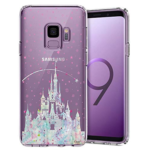 Samsung Galaxy S9 Case, Unov Clear with Design Soft TPU Shock Absorption Slim Embossed Pattern Protective Back Cover for Galaxy S9 (Watercolor Castle)