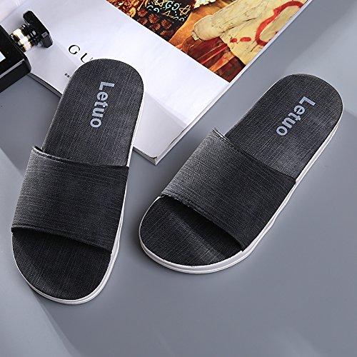 Y-Hui parejas zapatillas de baño verano fondo blando engrosamiento Home zapatillas zapatillas, casa baño fresco verano zapatillas Womens - Black