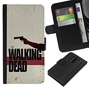A-type (Los Zombies que pasear) Colorida Impresión Funda Cuero Monedero Caja Bolsa Cubierta Caja Piel Card Slots Para LG G3