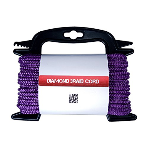 "Poly Braided Diamond Cord - General Purpose Utility Rope 5/32 "" Thickness – Great for Securing & Tie Downs 75 ft Hank with FREE Line Winder (Purpose Clothesline)"