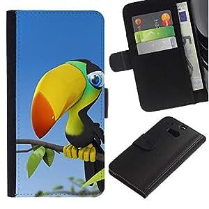 "HTC One M8 , la tarjeta de Crédito Slots PU Funda de cuero Monedero caso cubierta de piel ("" Parrot Rainforest Bird Colorful Big Beak"")"