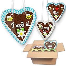 20x Lebkuchen Herzen je Mischkarton - Klassische Jahrmarkt Sprüche 18cm - Premium Qualität Frisch & Saftig Lebkuchenherz…