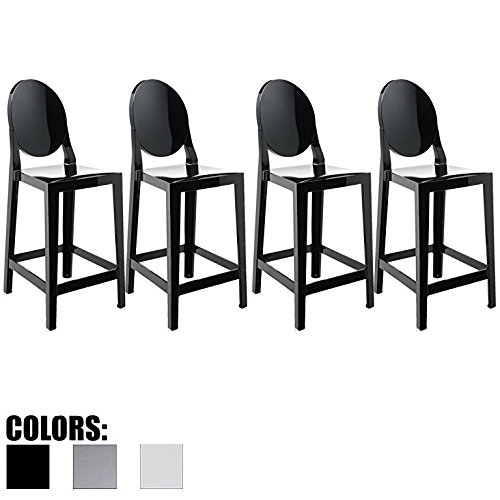 2xhome Set of Four (4) – Black – 30″ Seat Height Barstool Modern Ghost Chair Ghost Stool Black Side Bar Stool Counter Stool Accent Stool Lounge No Arms