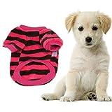 Wensltd Autum Coral Fleece Pet Warm Sweater Doggy Apparel Stripe Hot+cool (M, E)