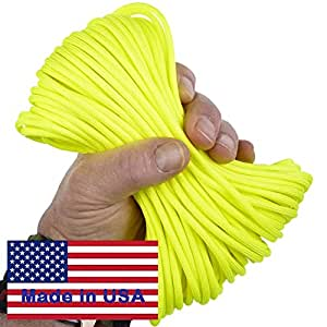 7-Strand 1992 Neon Yellow Paracord / Parachute Cord 50 Ft. Hank. Guaranteed U.S. Made Military Survival Cord, Type III, 550 Lb. Break Strength for Projects and Bracelets. Includes Two Ebooks.