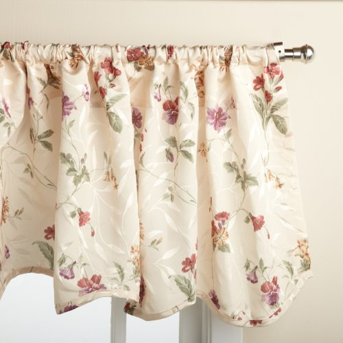 LORRAINE HOME FASHIONS Whitfield Floral 52-inch x 18-inch Valance (Kitchen French Country Curtains)