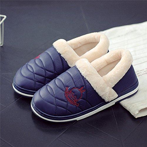 Fankou pantofole di cotone borsa con coppia femminile home impermeabile anti-skid spessa caldo uomini e donne capelli pantofole inverno, 44-45 (per 42-43 piedi), blu scuro