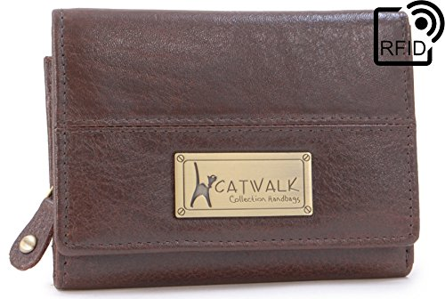 Protection Black Coin Up Genuine Small Rfid Collection Box Brown Zip Catwalk Leather Gift Card Compartment Credit Purse Wallet Victoria gZz0qwpv
