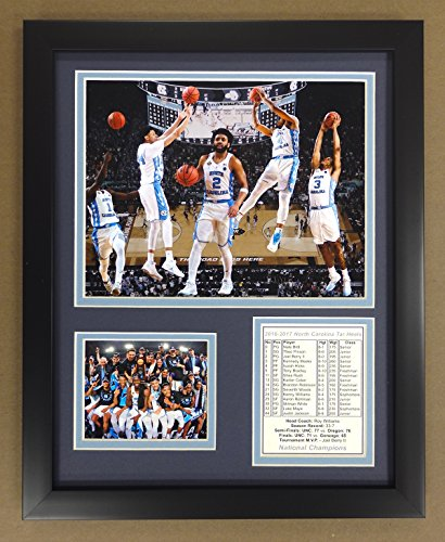Legends Never Die NCAA North Carolina Tar Heels 2016-2017 National Champions Framed Double Matted Photos, Collage, 12