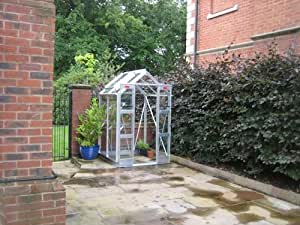 """Elite Compact Aluminium Greenhouse - Glass Type : 6Mm Twin Wall Polycarbonate : Powder Coating : Color - Brown : Size (Length X Width) - 10'5"""""""" X 4'3"""""""""""