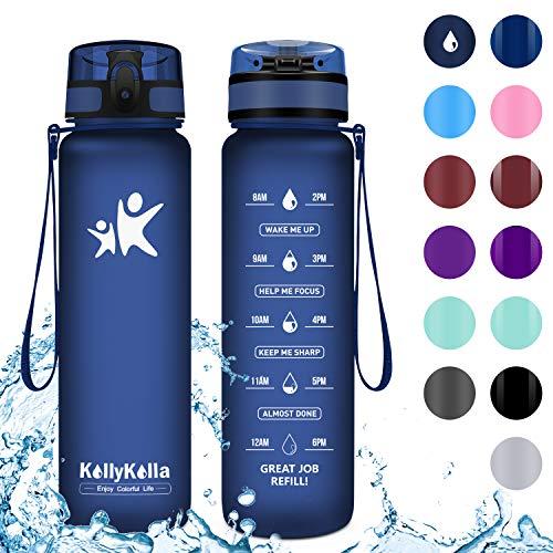 KollyKolla Sports Water Bottle 350ml/12oz Reusable Plastic Water Bottle with Time Marker and Filter, BPA Free Tritan Kids Water Bottle for Gym, Bike, Yoga, Running (Matte Dark Blue)