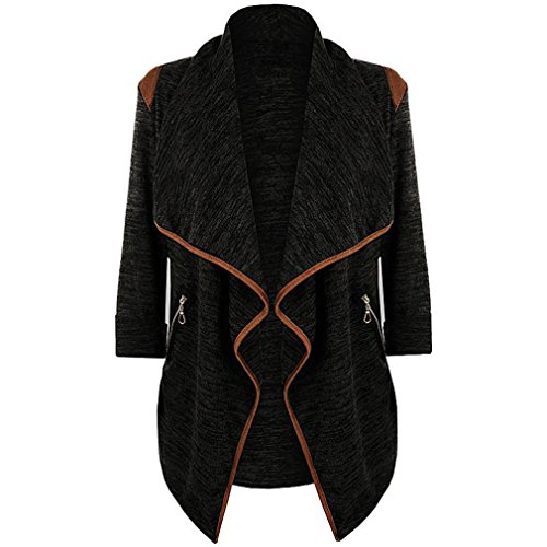 Tsmile Autumn Winter Womens Cardigan Jacket Plus Size Long Sleeve Open Front Casual Blazer Outwear (Large, Black)