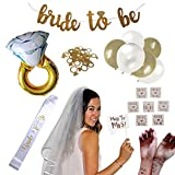 Complete Bachelorette Party + Bridal Shower Decoration Set! Supplies Incl. Ring Foil Balloon, Bride Tribe Flash Tats, Bachelorette PhotoBooth Props, Gold Banner, Veil, Sash, Ring Confetti, Balloons