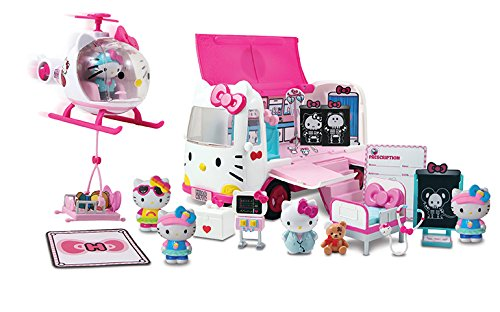 Ambulance Rescue - Jada Hello Kitty Rescue Set with Emergency Helicopter & Ambulance Playset, Figures & Accessories, Pink & White